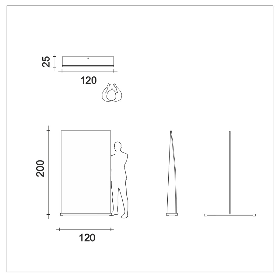 Roll-display support rod